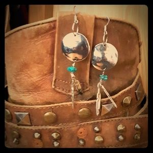 Jewelry - Silver concho and turquoise earrings